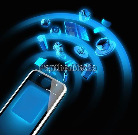 wlan signal von smartphone auf shopping
