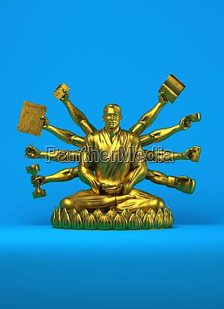 goldene statue des geschaeftsmannes als buddha