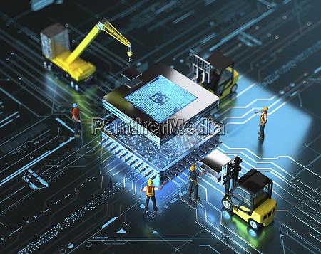 miniature workers building computer motherboard