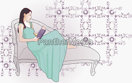 woman reading on chaise lounge