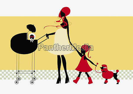 mother walking children and dog