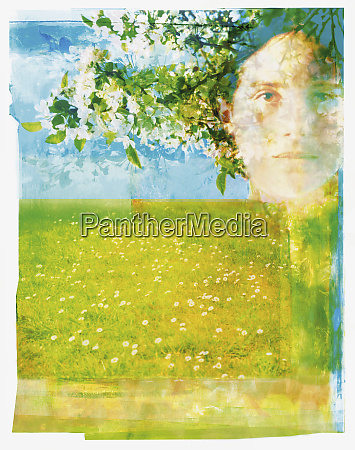 portrait of woman in orchard
