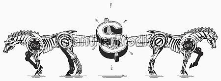 horses pulling dollar sign