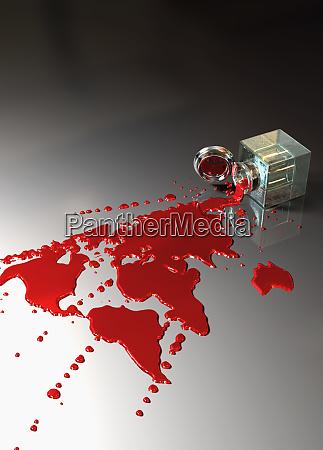rote tinte spuelt und bildet kontinente