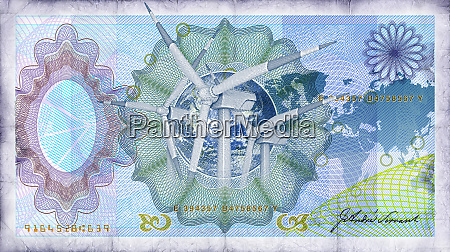 close up of blue bank note