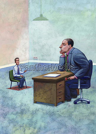 large businessman about to push button