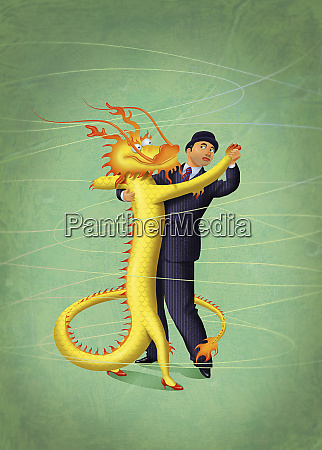 cautious businessman and chinese dragon dancing