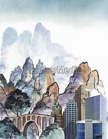 contrasting modern city skyscraper development in