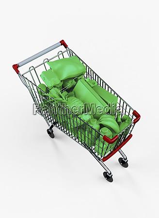 einkaufswagen voller gruener lebensmittel