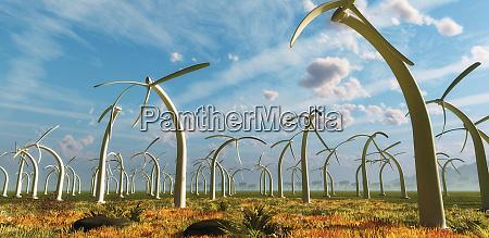 drooping stationary wind turbines on wind