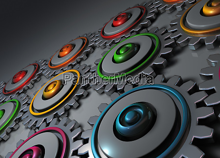 digitally generated multicolored interconnected cogs and
