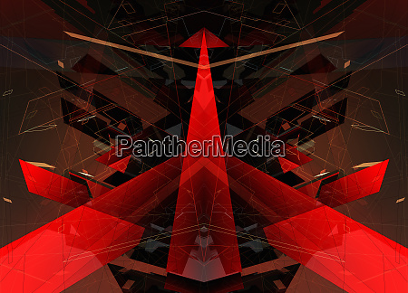 abstract red arrow and geometric shape