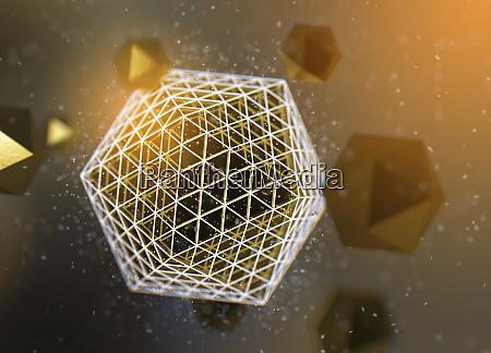 abstraktes muster von gold polyhedra das