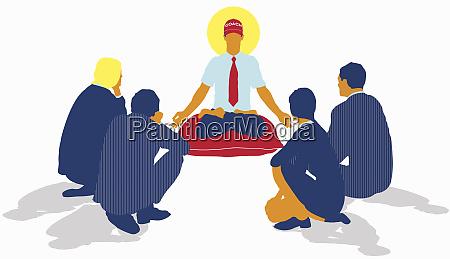 businessmen and businesswomen surrounding coach sitting