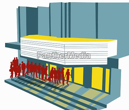 menschen in schlange vor dem kino