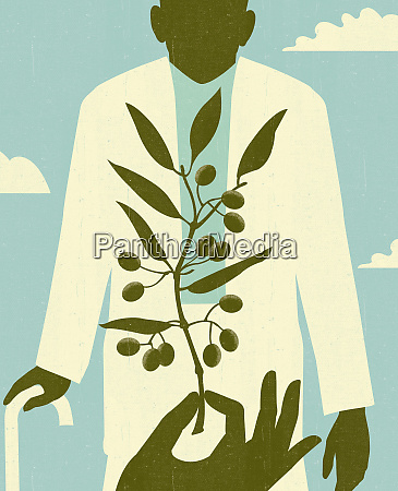 handhalter olivenzweig vor dem aelteren mann
