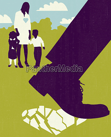 woman and children watching man walking