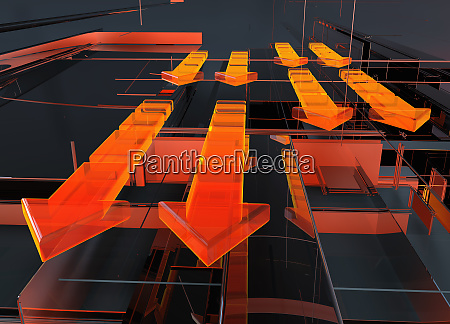 abstract glowing red arrows and geometric