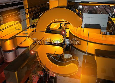 glowing euro sign among geometric pattern