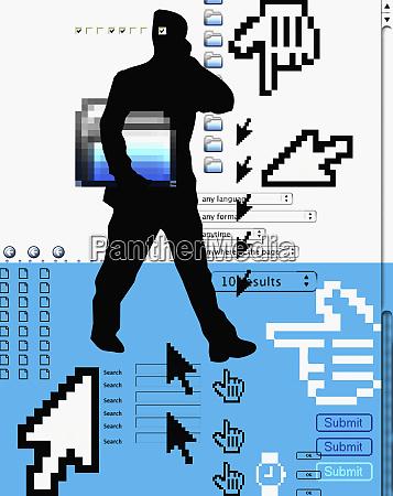 mann steht mit internet ikonen im