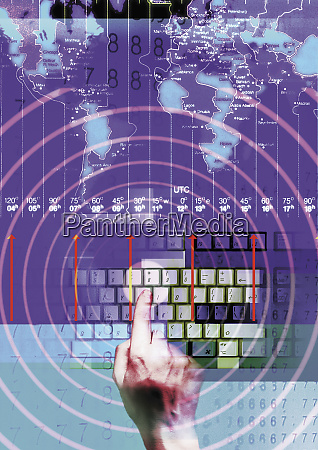 collage of map timezones computer keyboard