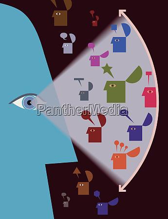 eye examining variety of speech bubbles