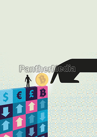 large hand pushing bitcoin towards small
