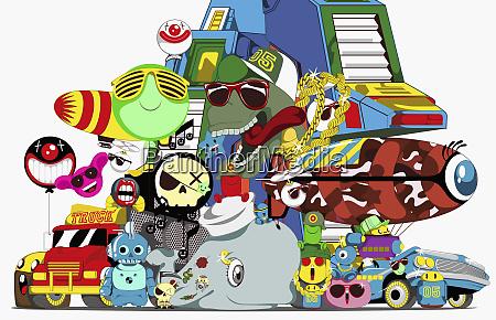 collage von zeichentrickfiguren