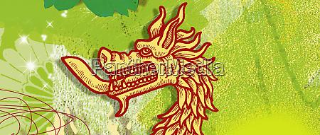 montage des chinesischen drachenjahres