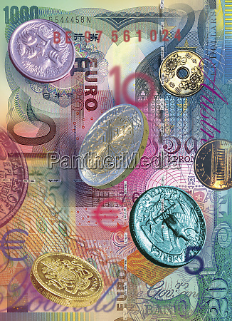 collage of foreign bills and coins