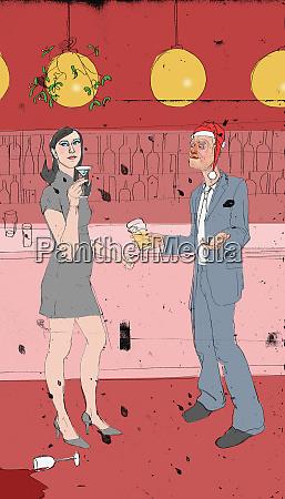 man flirting with woman at christmas