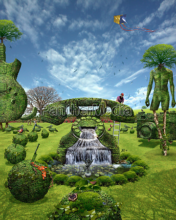 brunnen mit telefonfoermigem topiary
