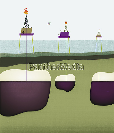 oil wells drilling through ocean