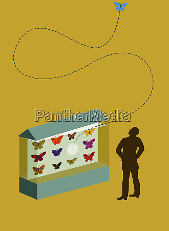 man watching escaping butterfly