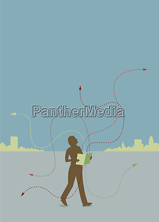 person walking with book and swirling
