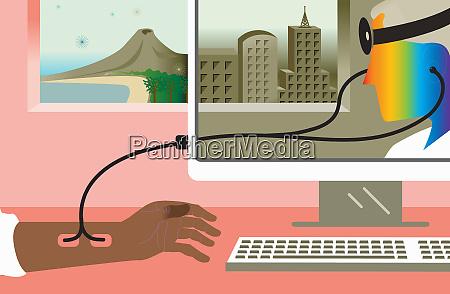 arzt mit stethoskop ueber computer monitor