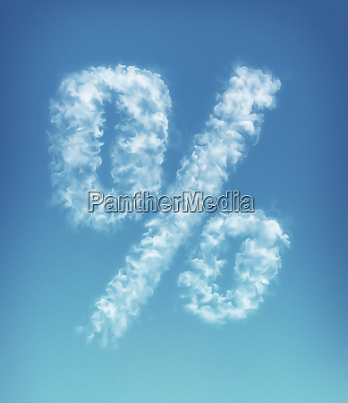 clouds forming percent symbol in blue