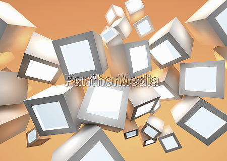 abstract pattern of floating illuminated cubes