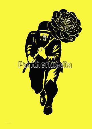 man running with large rose