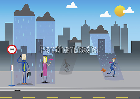 business people getting rained on in