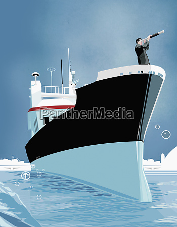 business man using telescope on bow