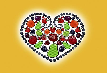 fresh fruit arranged in heart shape