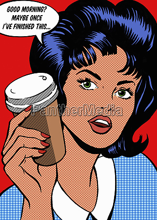 irritable woman drinking coffee in the