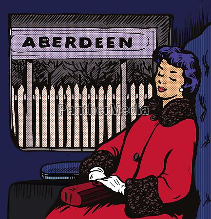 woman asleep on train at aberdeen