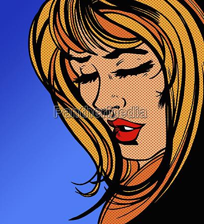 close up of sad beautiful woman