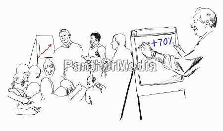 mann schreibt auf flipchart in trainingspraesentation