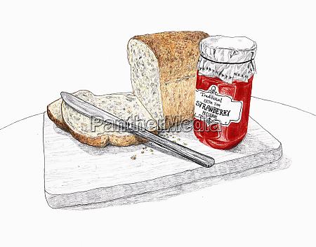 scheibe brot und marmelade