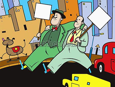 businessmen protesting in city