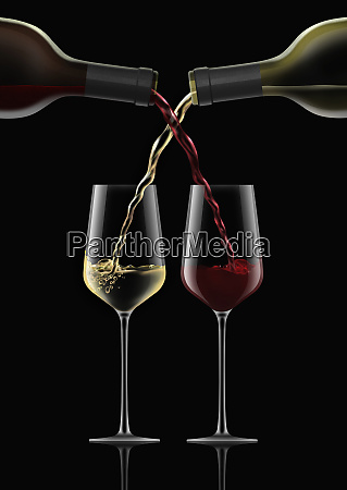 intertwined red wine and white wine