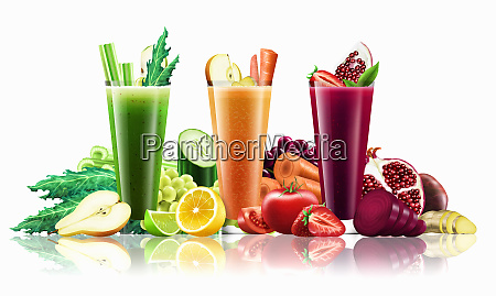 three different smoothies amongst lots of